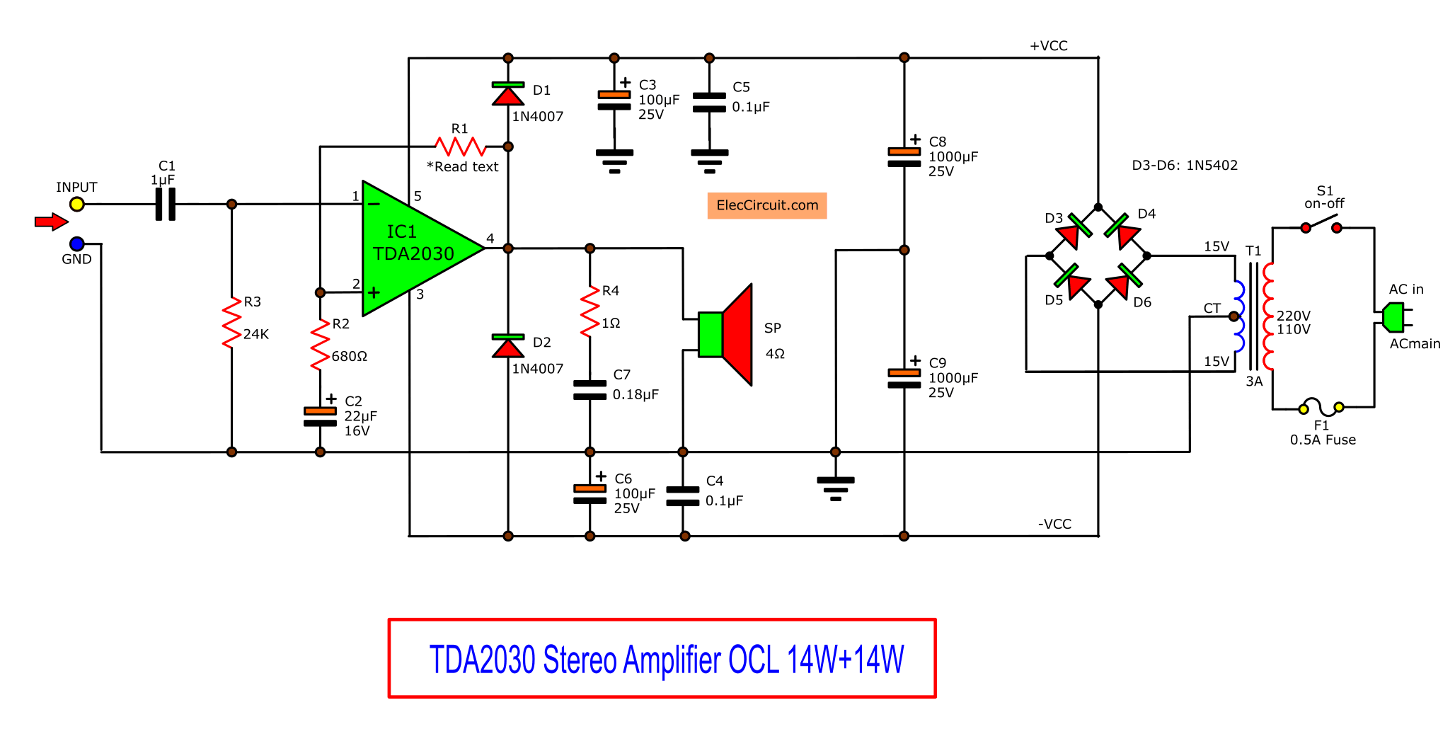 TDA2030 stereo amplifier circuit with PCB - ElecCircuit ...