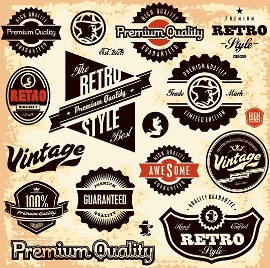 Vector Retro High Quality Label Collection 03 Jpg 537 534 Vintage Labels Retro Retro Sign