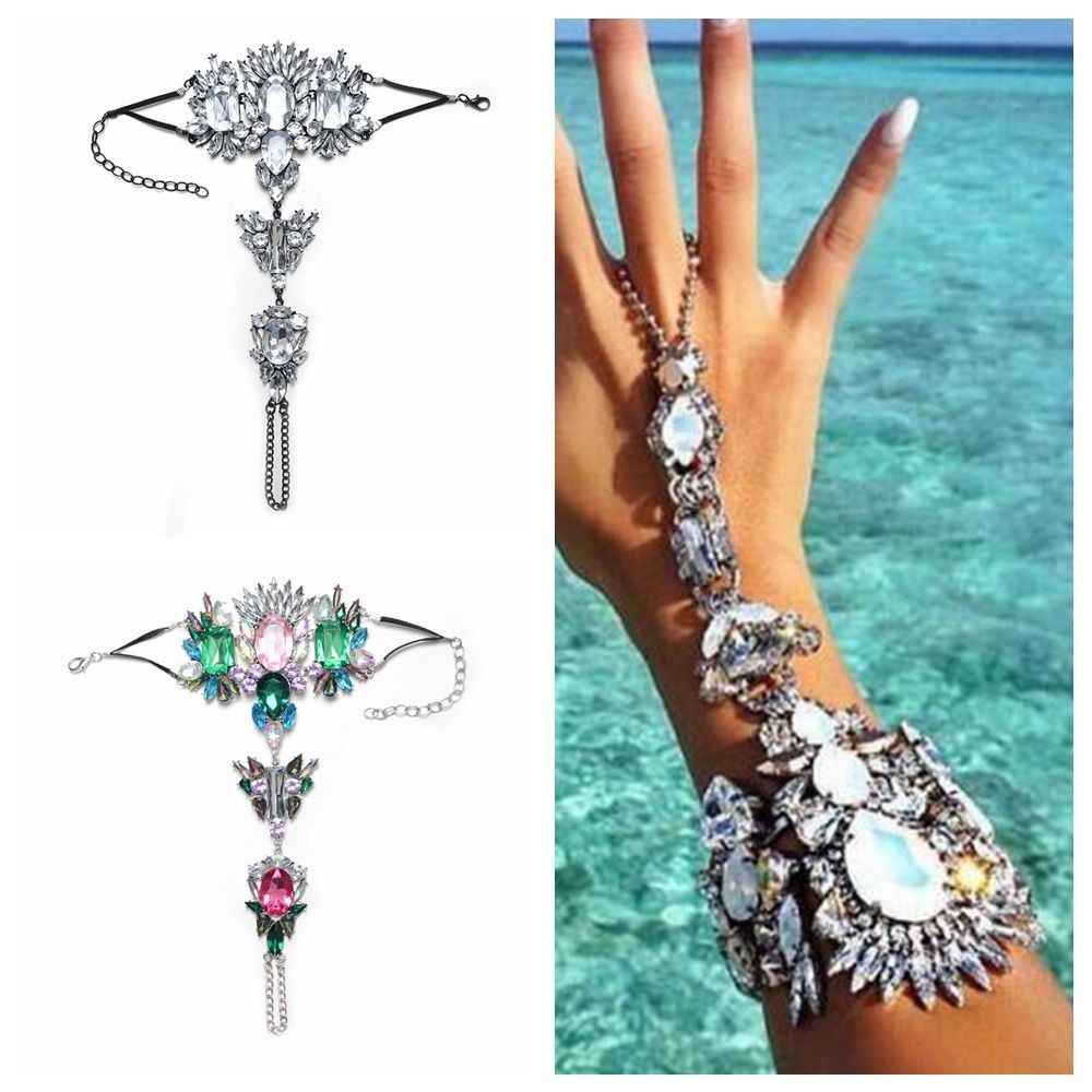 Fashion women girls crystal bracelet bangle slave finger ring hand