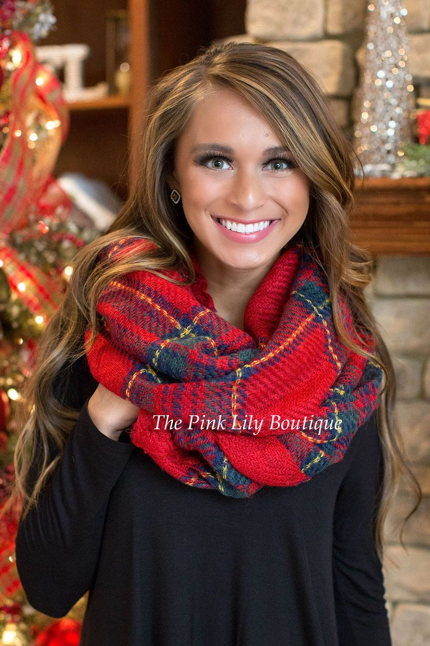 Timeless Tartan Plaid Scarf in Red - The Pink Lily Boutique