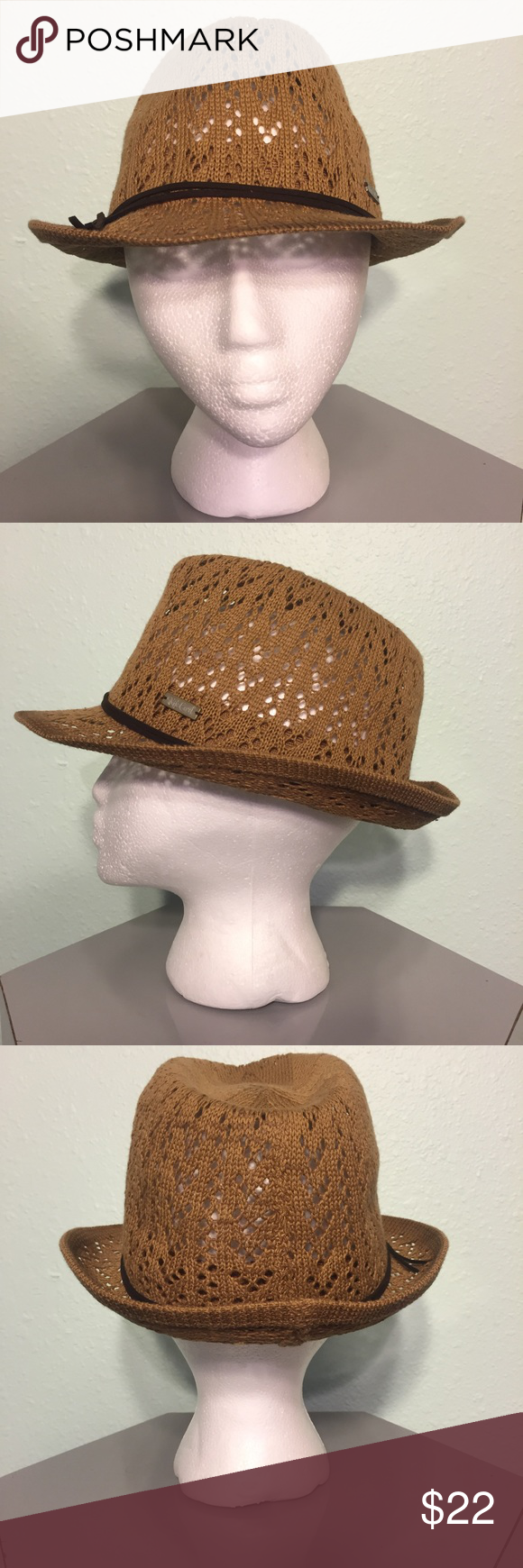 NWOT - Rip Curl Crochet Fedora Rip Curl Crochet Fedora  Crochet with ombré color on brim. Metal badge and faux leather ties around band.  Sample stamp on inside of band, but not visible when worn.  Never worn, but no tags. Perfect Condition.  Feel free to make me an offer.  Discounts on bundles. Rip Curl Accessories Hats