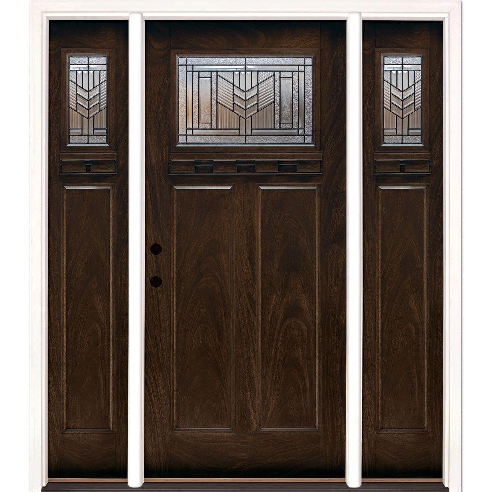 Front door with sidelites m6410 103010 ct 4irh the home depot - Feather River Doors 63 5 In X81 625in Phoenix Patina Craftsman Stained Chestnut Mahogany Left Hd Fiberglass Prehung Front Door W Sidelites