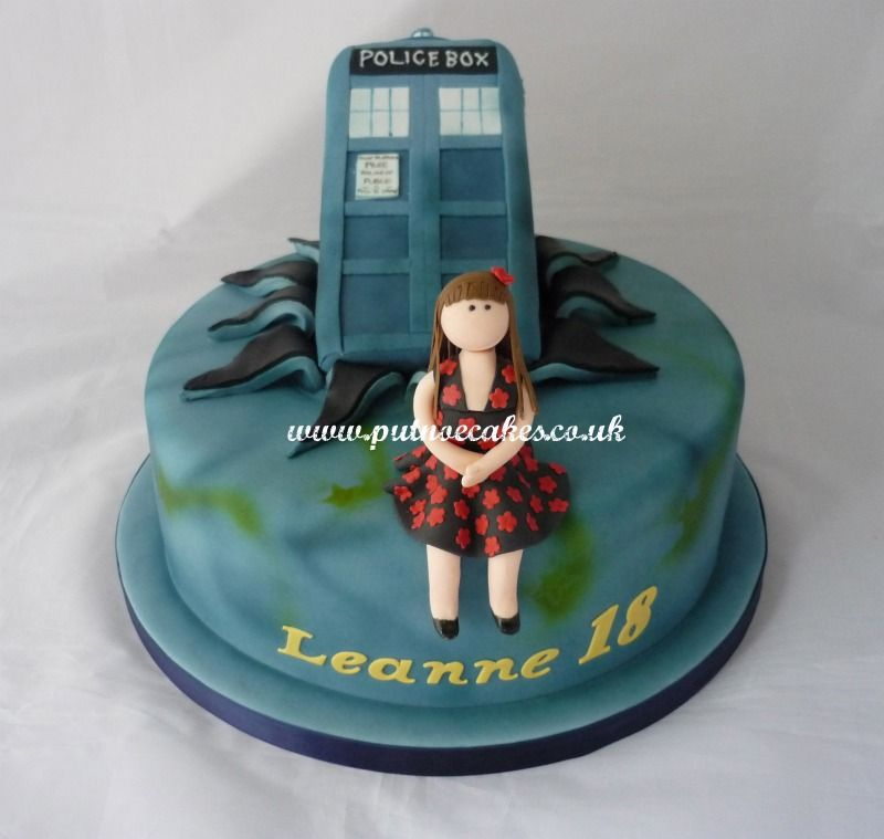 Dr Who Tardis 18th birthday cake with girl modelled on supplied
