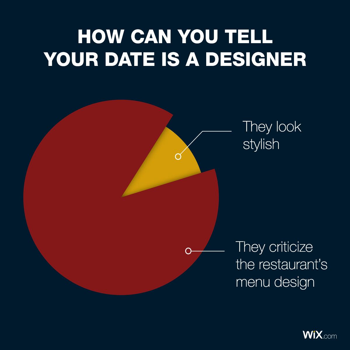 Design Jokes Pie Chart How Can You Tell Your Date Is A Designer Business Design Restaurant Menu Design Menu Design