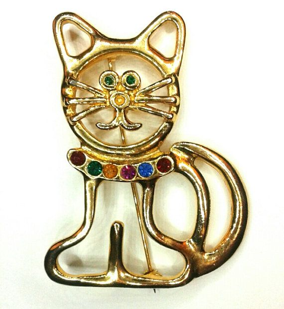 Vintage Gold Tone Collared Cat Brooch Pin by JustJaeFashions