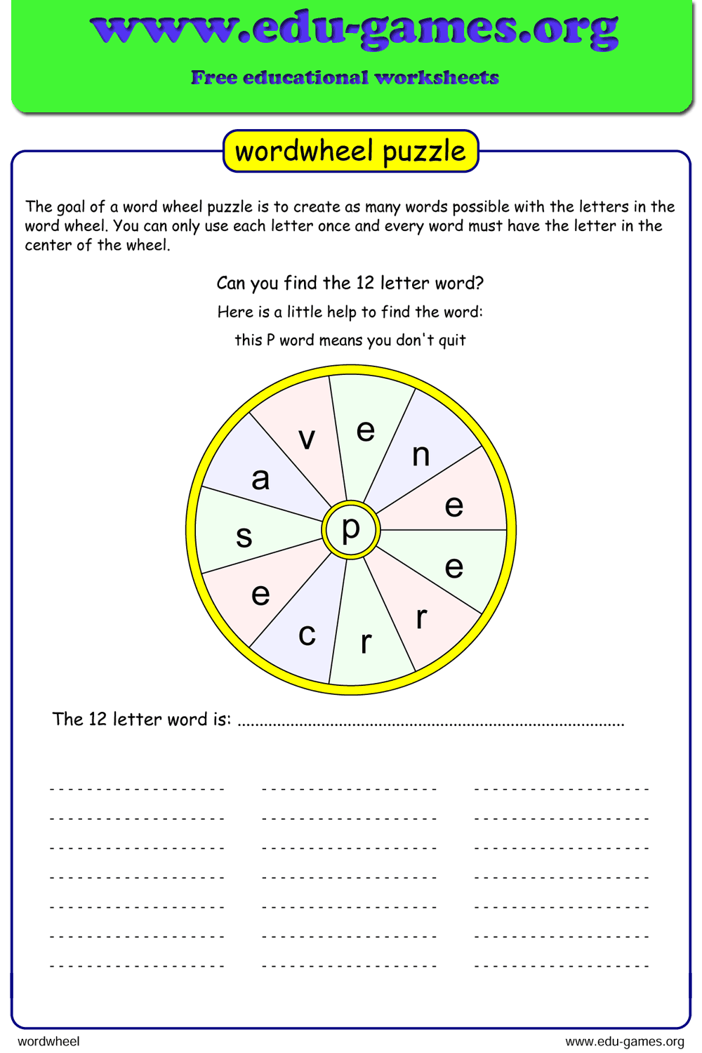 Free printable word wheel maker, includes a list of words ...