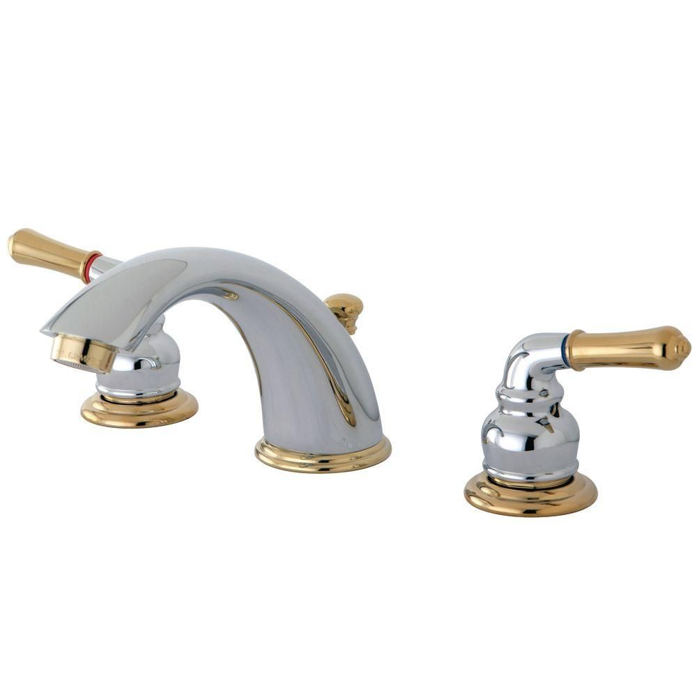Photo of Kingston Brass 8 in. Widely used 2-handle bathroom mixer tap in polished brass-HKB962 – The Home Depot