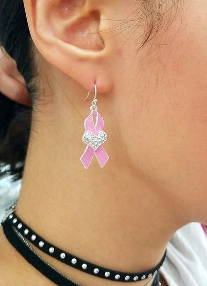 Fashion Jewelry, Trendy Jewelry, Pink Ribbon, Breast Cancer Awareness, Dangle Earrings #pinkribbon #breastcancerawareness