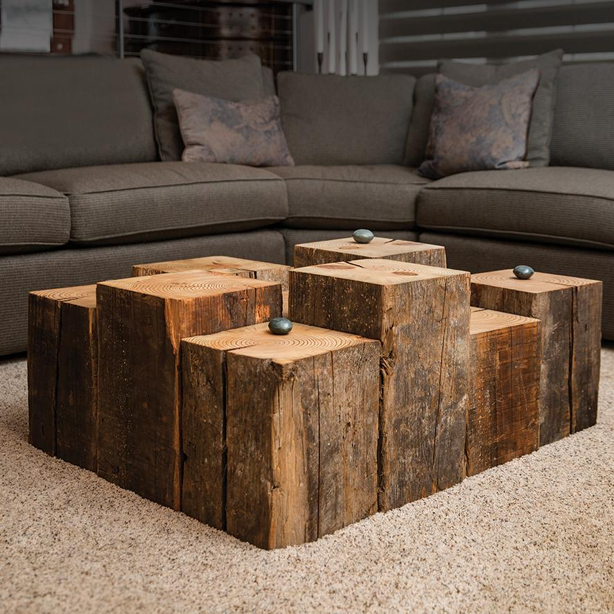 Beam Block Table Reclaimed Wood Decor Susie Frazier Susie Frazi Interior Design Living Room Small Scandinavian Kitchen Design Traditional Interior Design