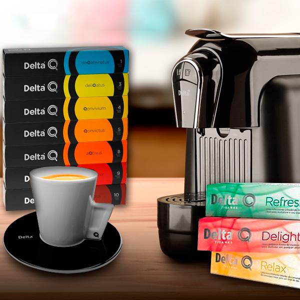 Cafetera automática Delta Q + 150 cápsulas. Disfruta del sabor auténtico del café, tisanas e infusiones al mejor precio.
