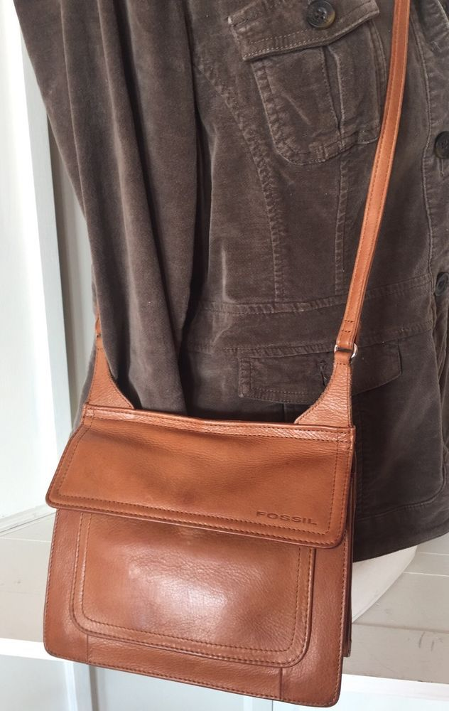 Vintage Fossil 1954 Cognac Brown Leather Cross Body Organizer Purse Ebay Leather Crossbody