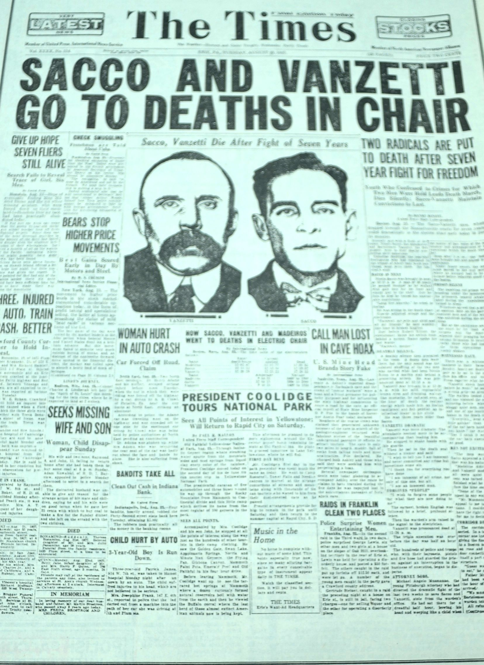 a history of sacco vanzetti conviction and anarchy The sacco-vanzetti affair is the most famous and controversial case in american legal history in our history, justice has not always resulted in fairness, but.