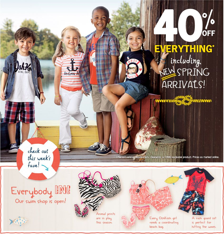 image regarding Osh Coupons Printable called 40% off almost everything at Osh Kosh Bgosh! Little ones Absolutely free