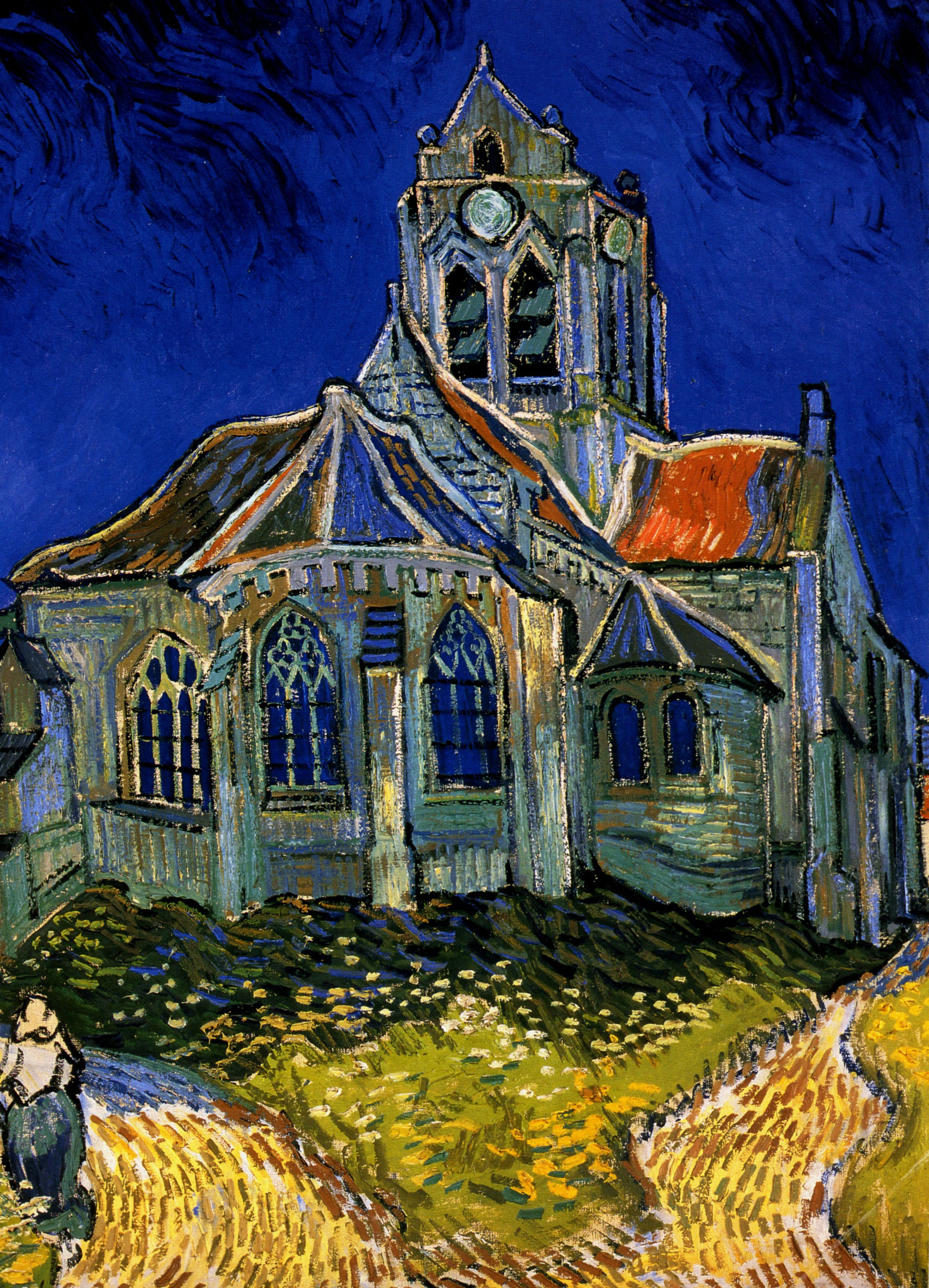 """The Church At Auvers by Vincent Van Gogh Oil Painting Reproduction 24/"""" x 32/"""""""