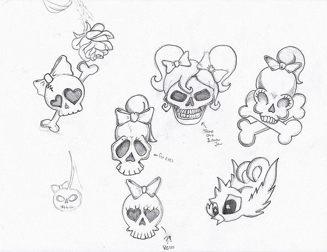 Girly Skull Tattoo Flash