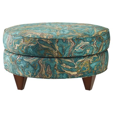 Put Your Feet Up In Style On This Marbled Teal Ottoman Featuring
