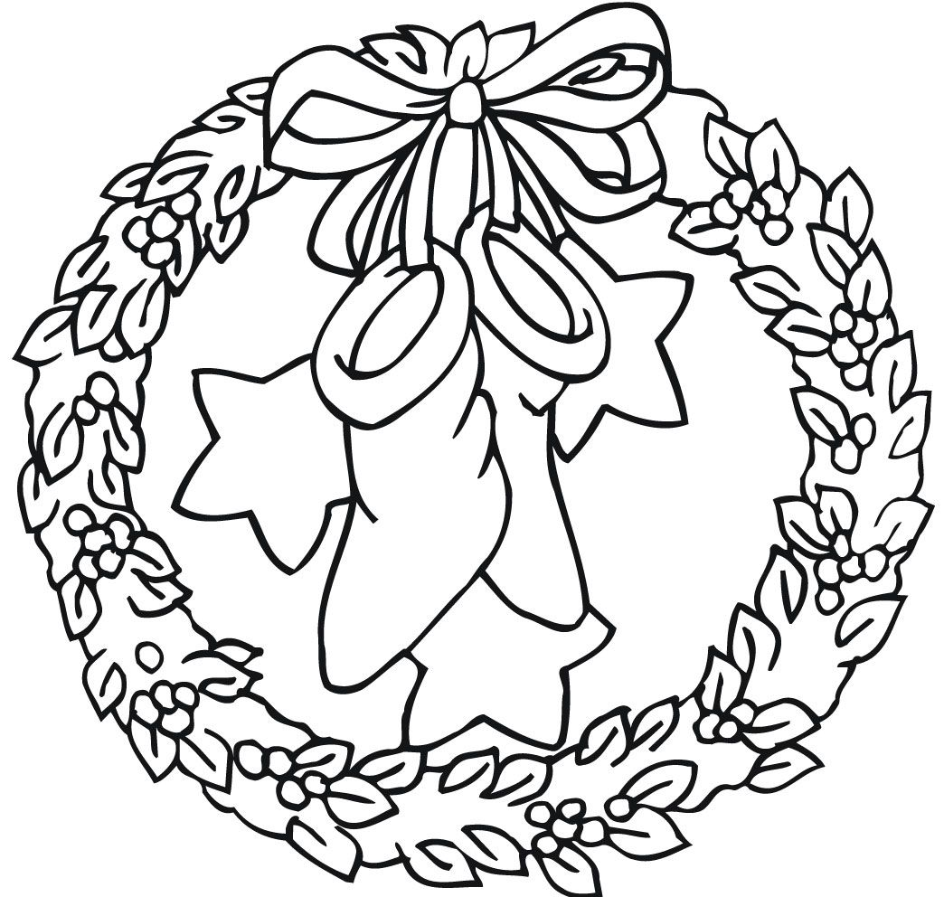 Wreath With Bow Holding Stockings And Stars