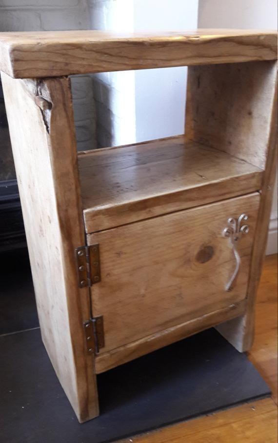 Rustic Wood Bedside Table: Handmade Wood Bedside Table Side Table Rustic Industrial