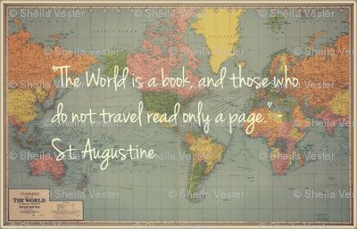 World map fabric with st augustine travel quote perfect for diy world map fabric with st augustine travel quote perfect for diy projects gumiabroncs Images