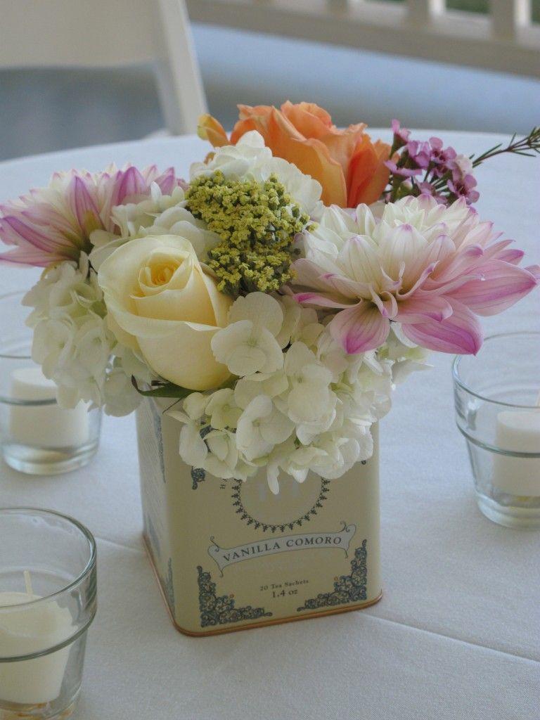 617d67fa28b tea tin centerpiece for garden style wedding via floralartvt.com ...