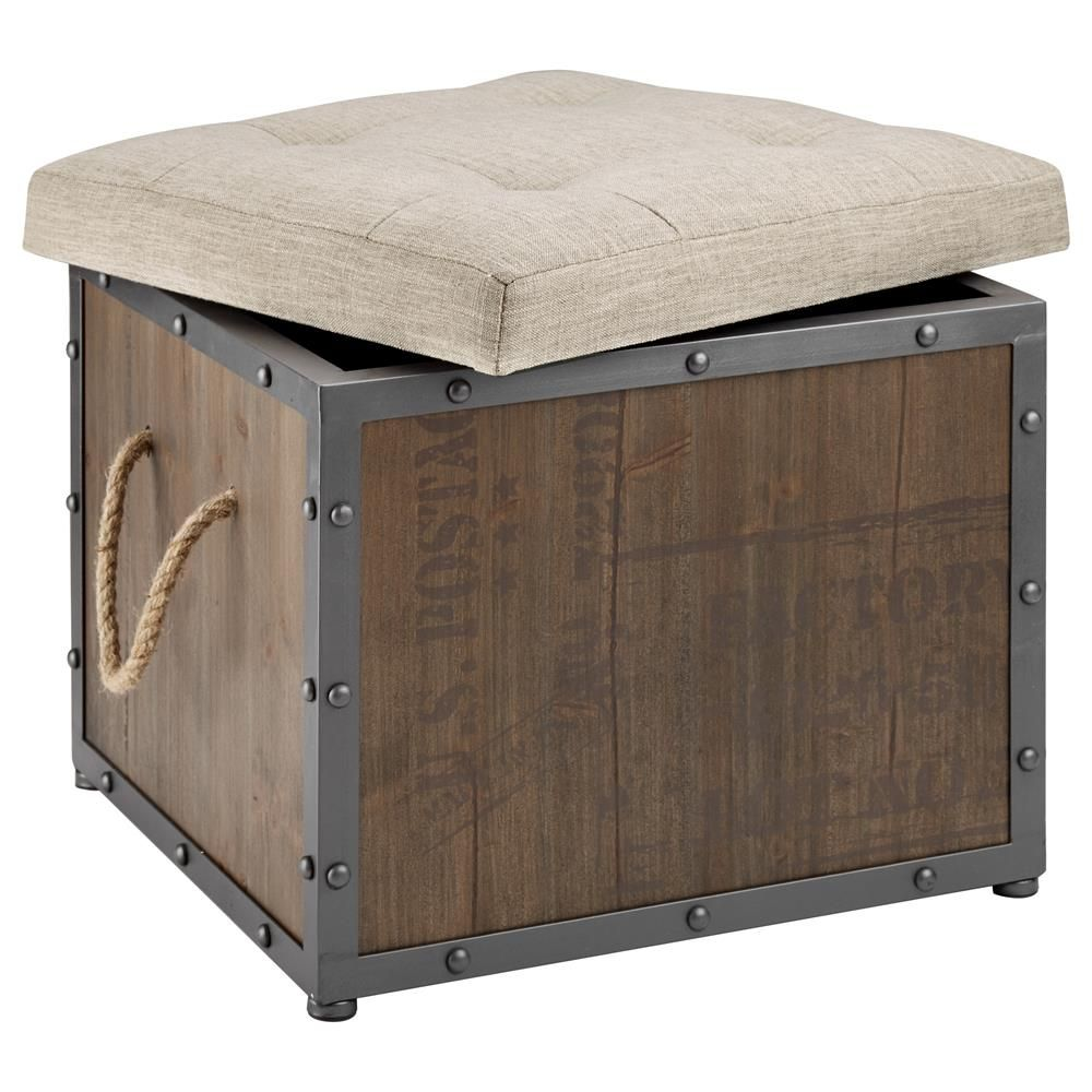 Rustic Storage Ottoman with Wood and Metal Base/Ottomans & Benches/Living  Room/ - Rustic Storage Ottoman With Wood And Metal Base/Ottomans & Benches