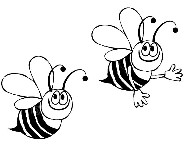 Two Bumble Bee Looking For Flowers Coloring Pages Best Place To Color Bee Drawing Bee Coloring Pages Coloring Pages