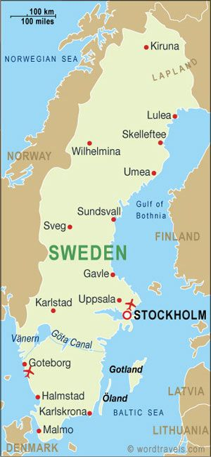 Location Sweden Is A Scandinavian Nation Located In Northern - Map 0f sweden