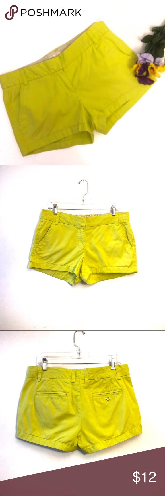 🛍5/$25 J. Crew Yellow Broken In Chino Shorts J. Crew   Neon Yellow Broken In Chino Shorts. Size 8. C...