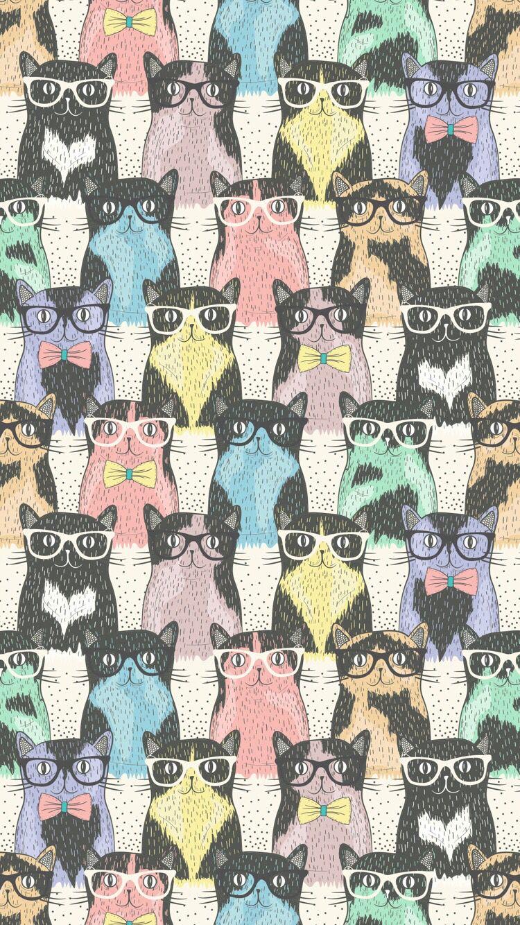 Hipster cat print by Dovile Kuusiene. http://www.dreamstime.com/lapesnape_info