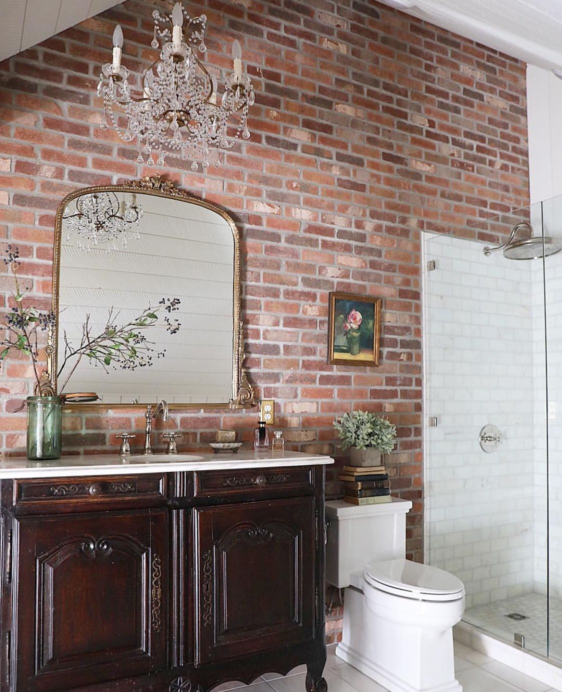 Brick Accent Wall Bathroom: Pin By Becky Garling On Bathrooms