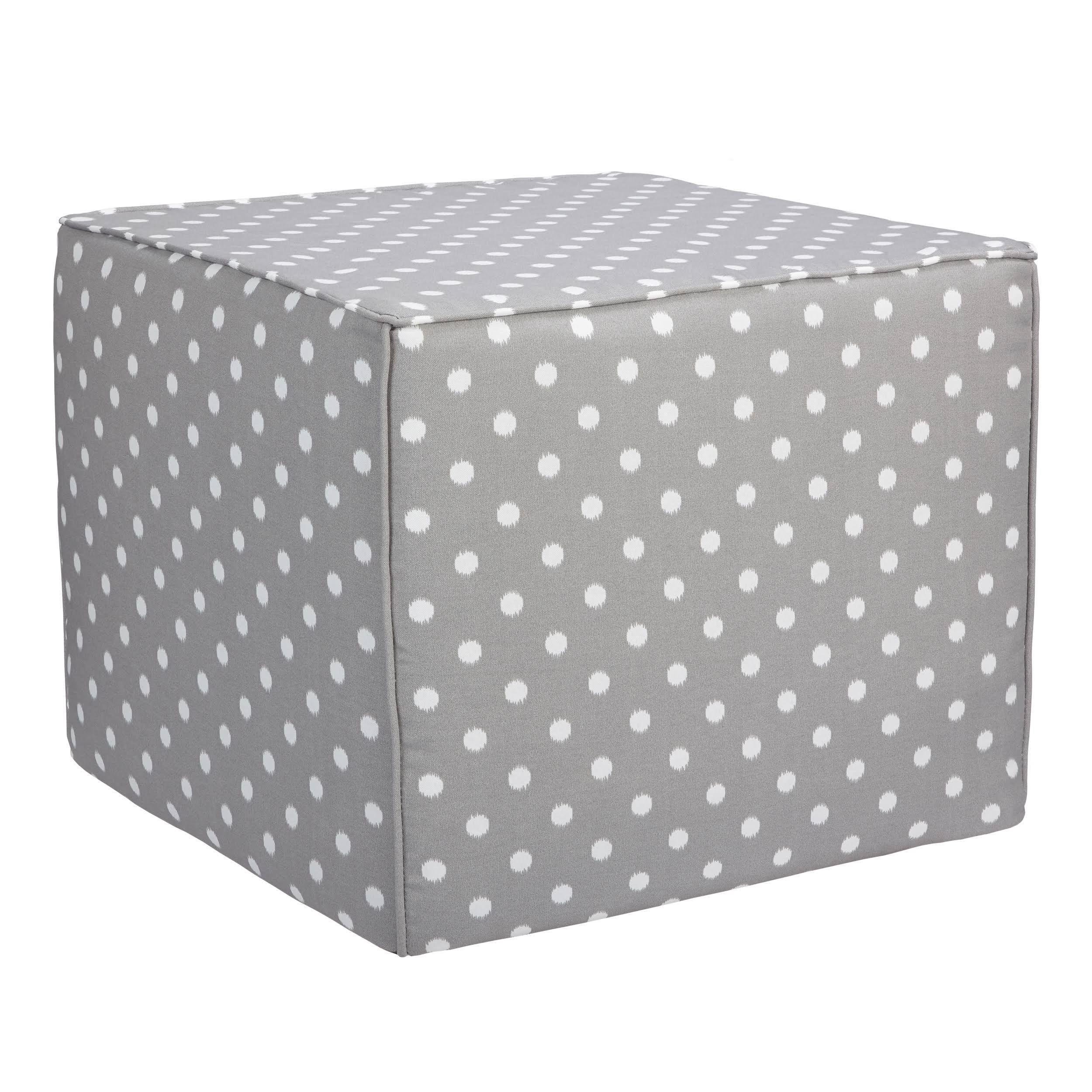 Brooklyn Grey Dots 22-Inch Square Indoor/ Outdoor Ottoman (OSCB2700) (Fabric), Outdoor Cushion