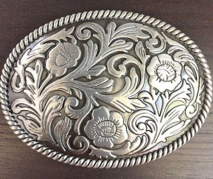 Oval Plain Metal Belt Buckle with Rope edge design