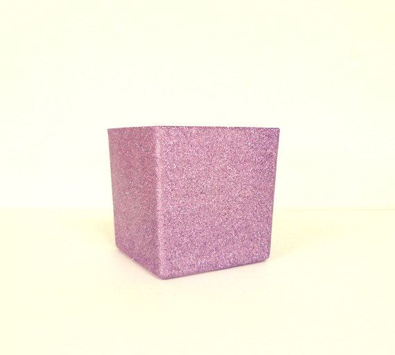 Light Purple Glittered 4 x 4 Square Glass by janetwhatmandesigns