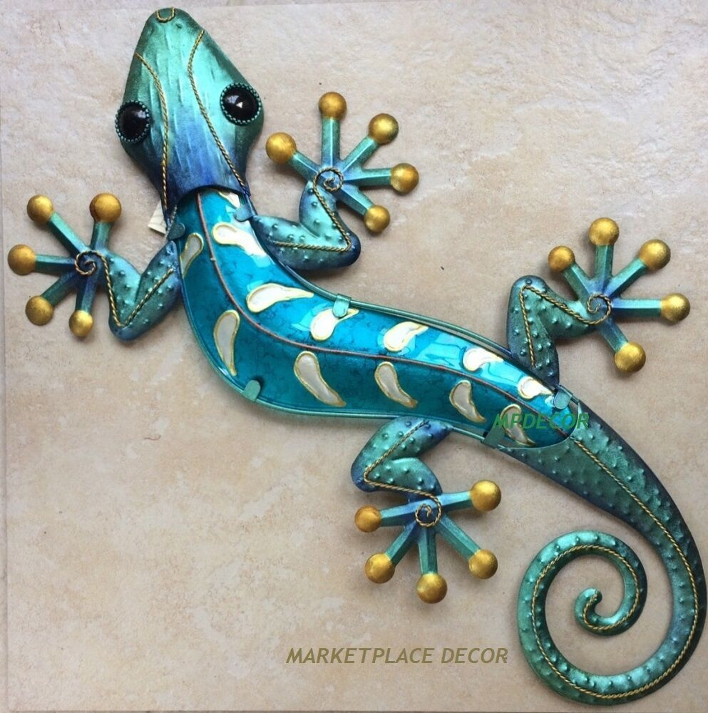 Large 23 Blue Gecko Lizard Wall Art Decor Glass Metal Hanging Indoor Outdoor Metal Wall Art Panels Lizard Metal Gecko Wall Art
