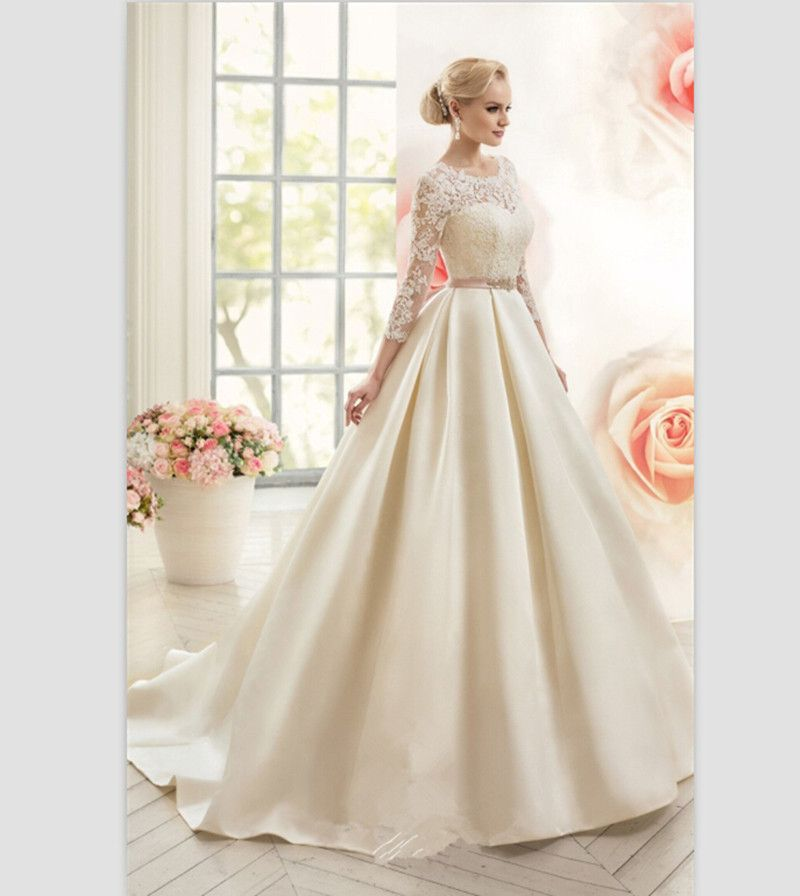 Ball-Gown-Wedding-Dresses-With-3-4-Sleeves-Ivory-Satin-Dress-Bride ...