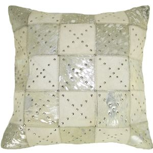 Leather Pillow in Silver Rivet