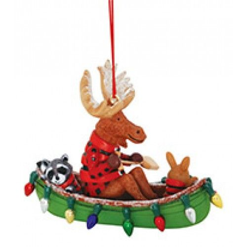 Resin Ornament Moose AND FRIENDS IN Canoe