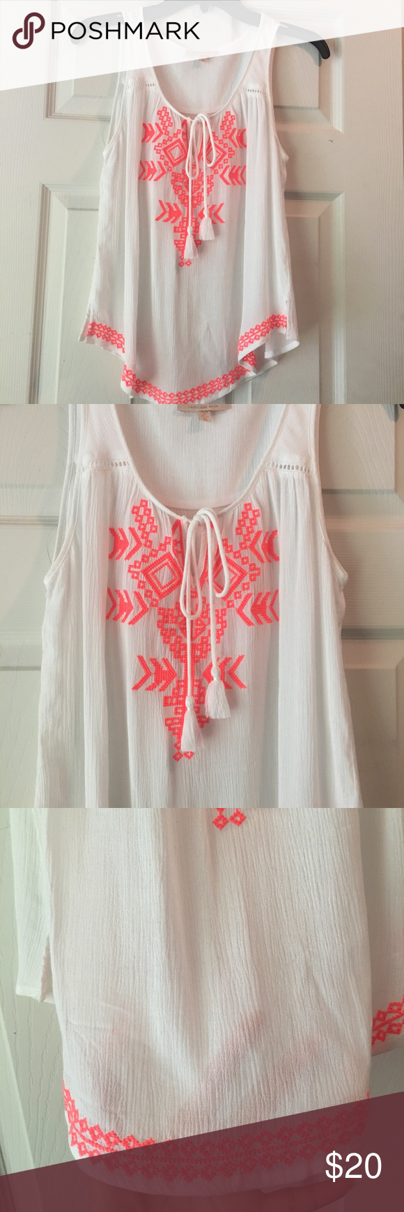 Top W/Embroidery Size XS! Never worn! Skies Are Blue Tops Blouses