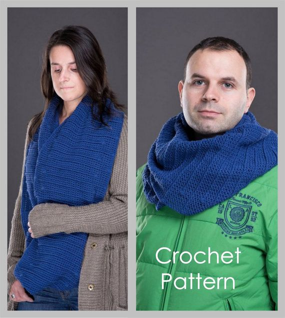 Crochet Pattern for Womens / Mens / Unisex Textured Infinity Scarf ...