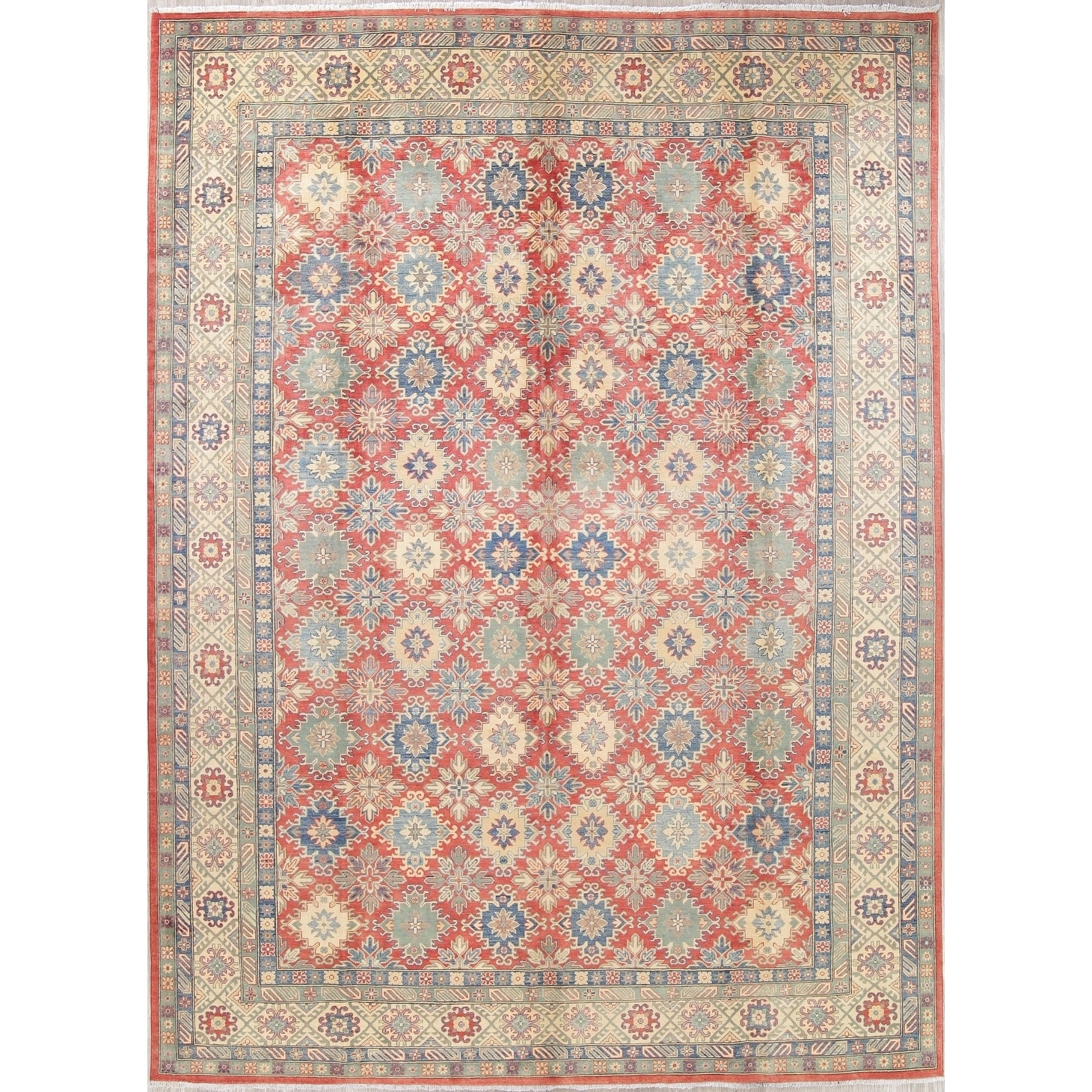 Kazak Oriental Hand Knotted Wool Traditional Pakistan Area Rug