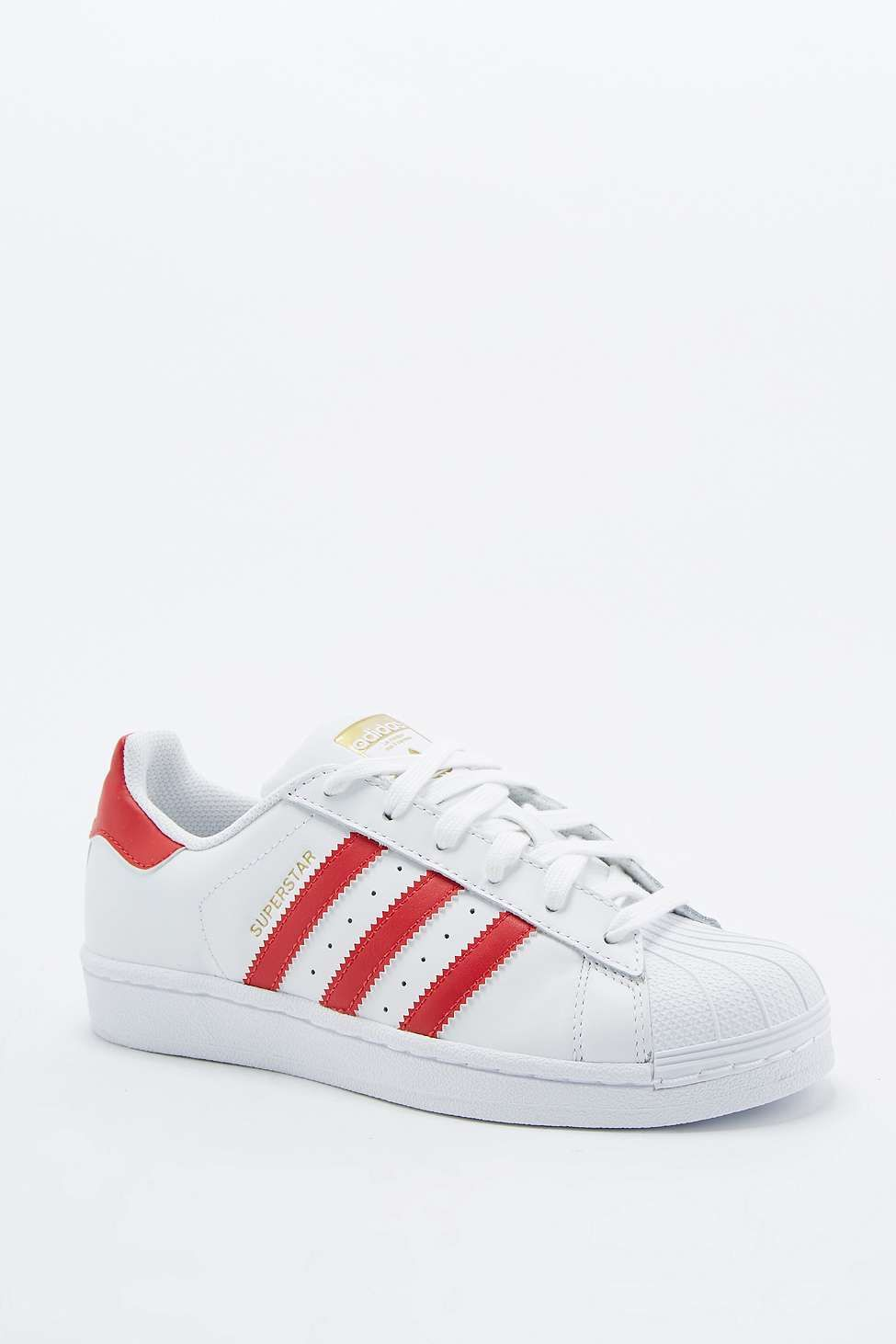 info pour 6d682 2c9b9 adidas Originals Superstar 80's Red and White Trainers ...