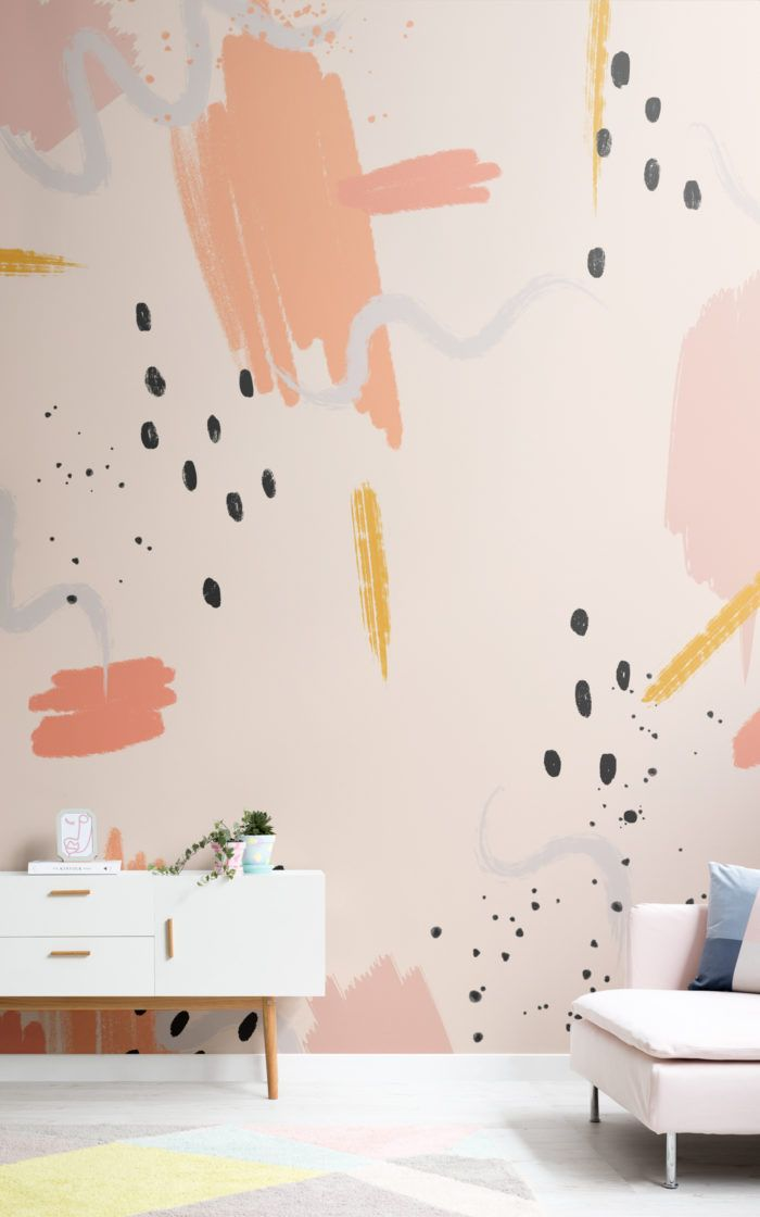 Peach Paint Brush Strokes Abstract Wallpaper Mural