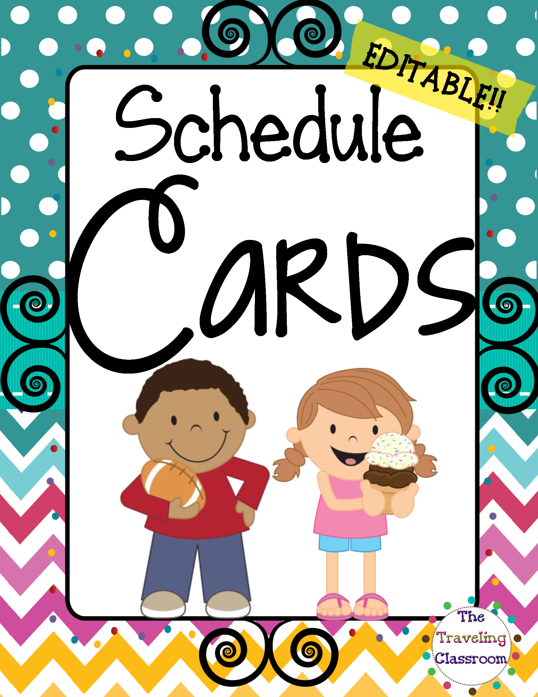 Schedule Cards {Chevron Polka Dot Theme} | Schedule cards, Polka dot ...