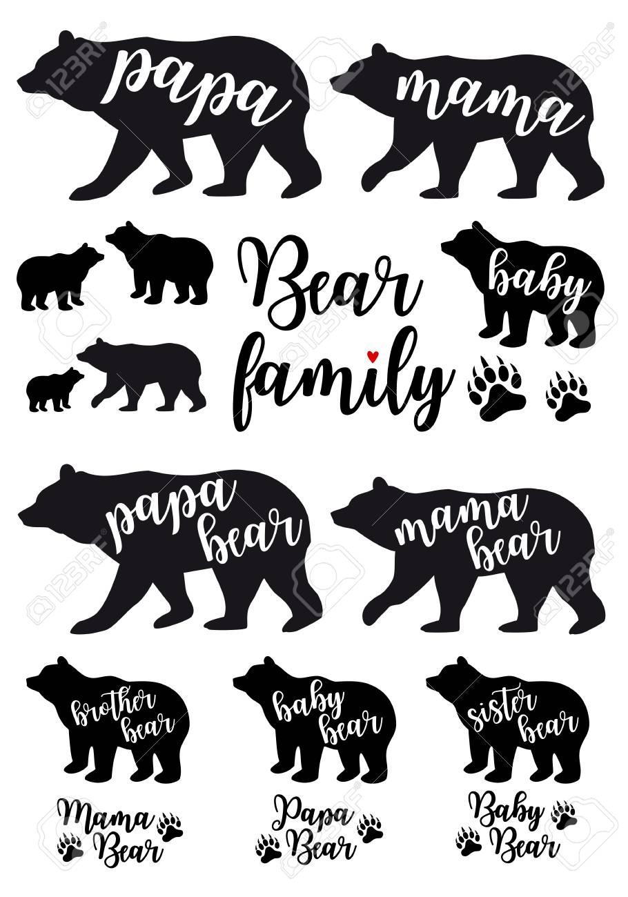 Mama Bear Papa Bear Baby Bear Silhouettes Set Of Vector Graphic Bear Silhouette Mama Bear Baby Bear