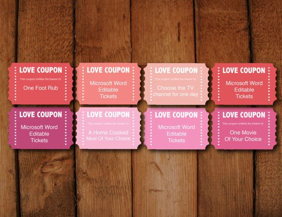 Microsoft Word · DIY Valentines Day Love Coupons Printable  Microsoft Word Coupon