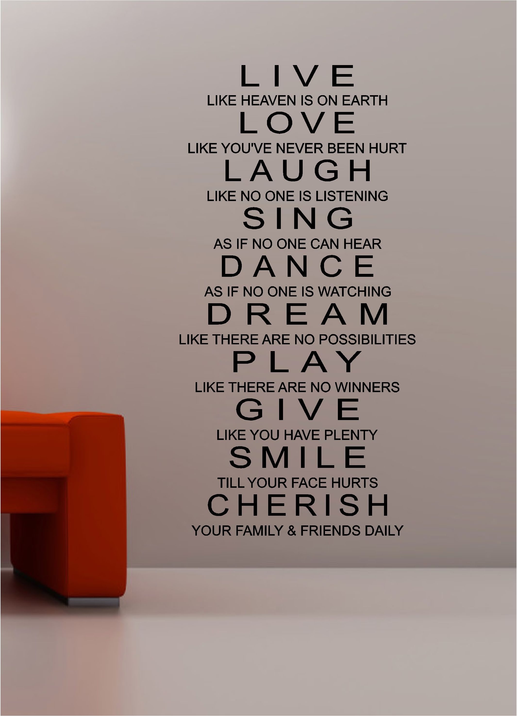 Charming Live Laugh U0026 Love Wall Art Quote Sticker Vinyl Kitchen Bedroom Lounge