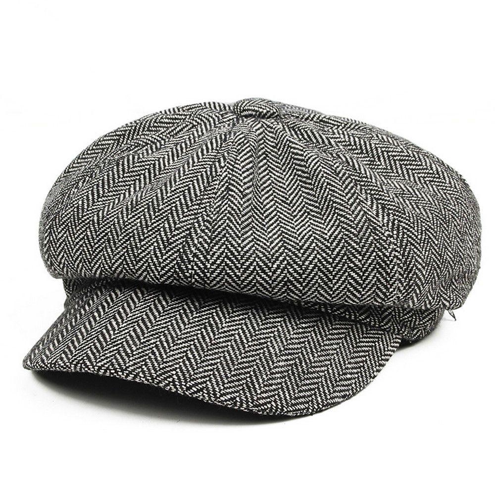 25ff1e3344064 Men Wool Herringbone Tweed Gatsby Newsboy Ivy Hat Golf Driving Flat Cabbie  Cap | eBay