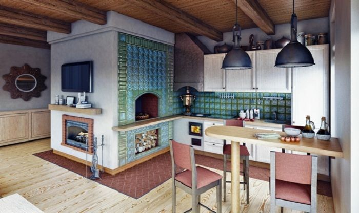 Russian Kitchen With Masonry Heater Fireplace On One Side