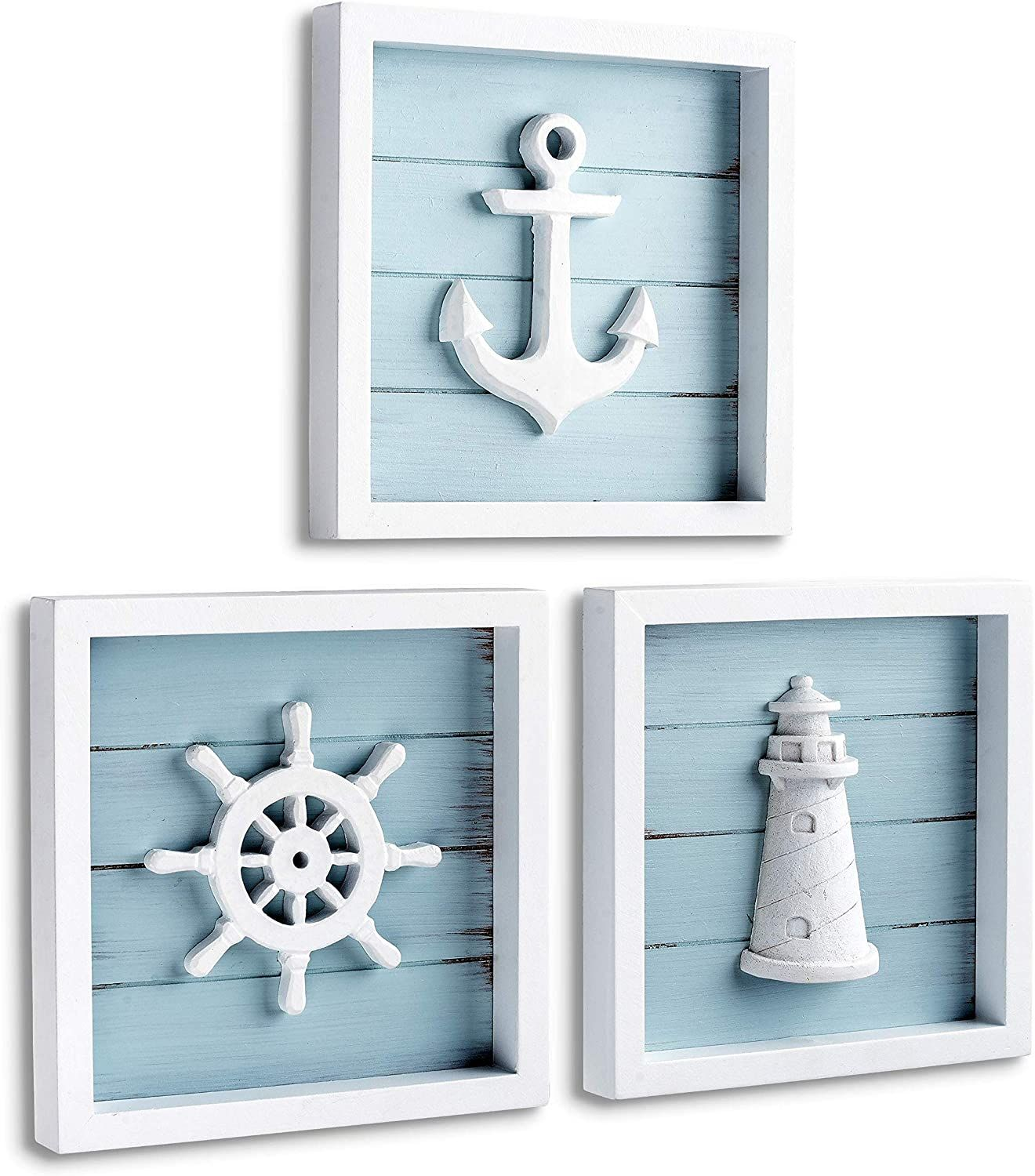 Photo of TideAndTales Nautical Wall Decor Set of 3 (7″x7″) Rustic Beach Decor with 3D Anchor, Lighthouse and Ship Wheel | Wooden Beach Bathroom Decor | Ocean Coastal Theme Decorations for Home