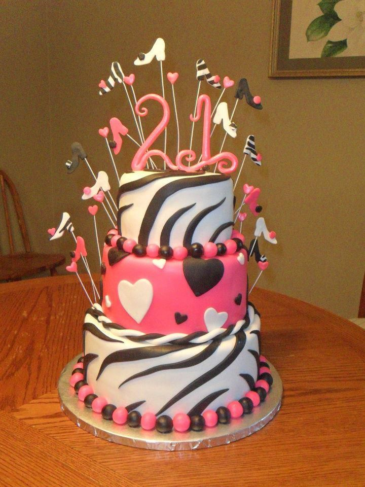 Hot Pink Hearts Zebra Print 21 Birthday Cake Black White Lake